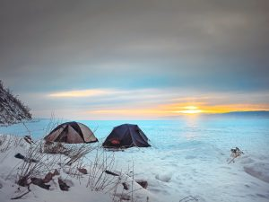 2 tents in a nice snow season view