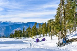 a group of family snow camping