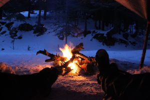 bon fire in snow camping