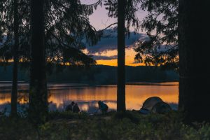 camping in sunset view