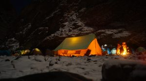 camping site snow