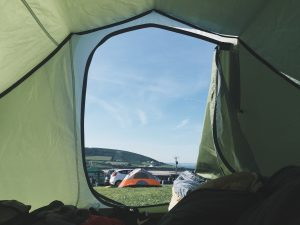 green tent with nature's view