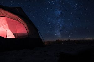 red tent at night