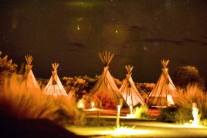 tepee night sky view