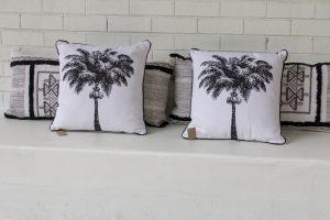 pillow with coconut palm print