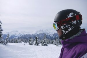 guy with black ski helmet