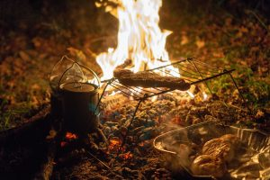 roasting meat during camping