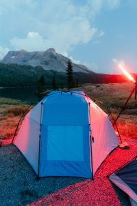 white tent with red reflection