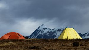 yellow and red tent